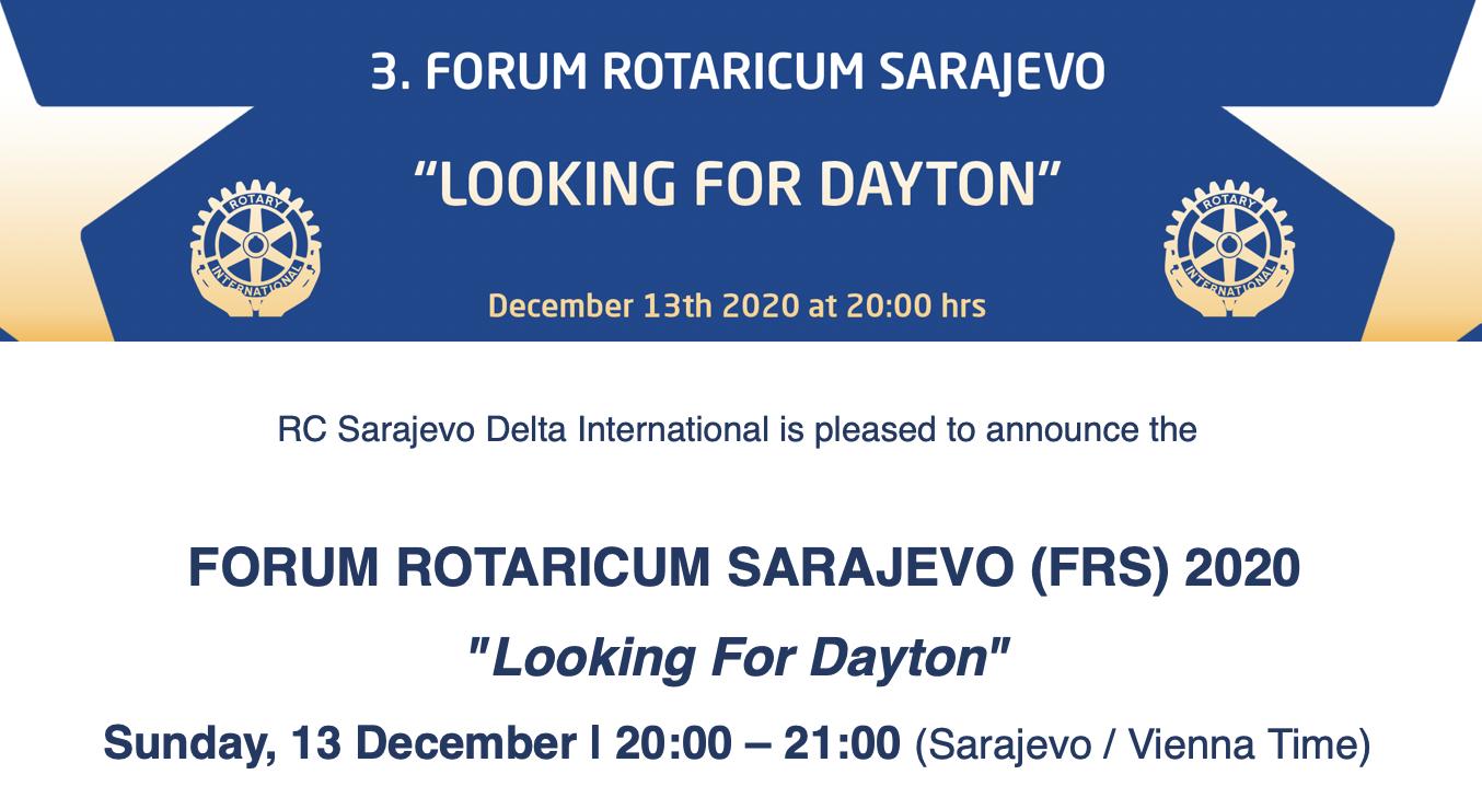 <div><b>FORUM ROTARICUM SARAJEVO (FRS) 2020</b></div><b><i>